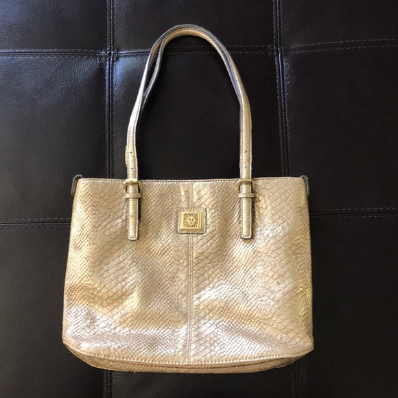 Anne Klein Bags | Gold Snake Tote Purse |